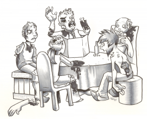 """Zombies Playing D&D"" by Mandi Tremblay"