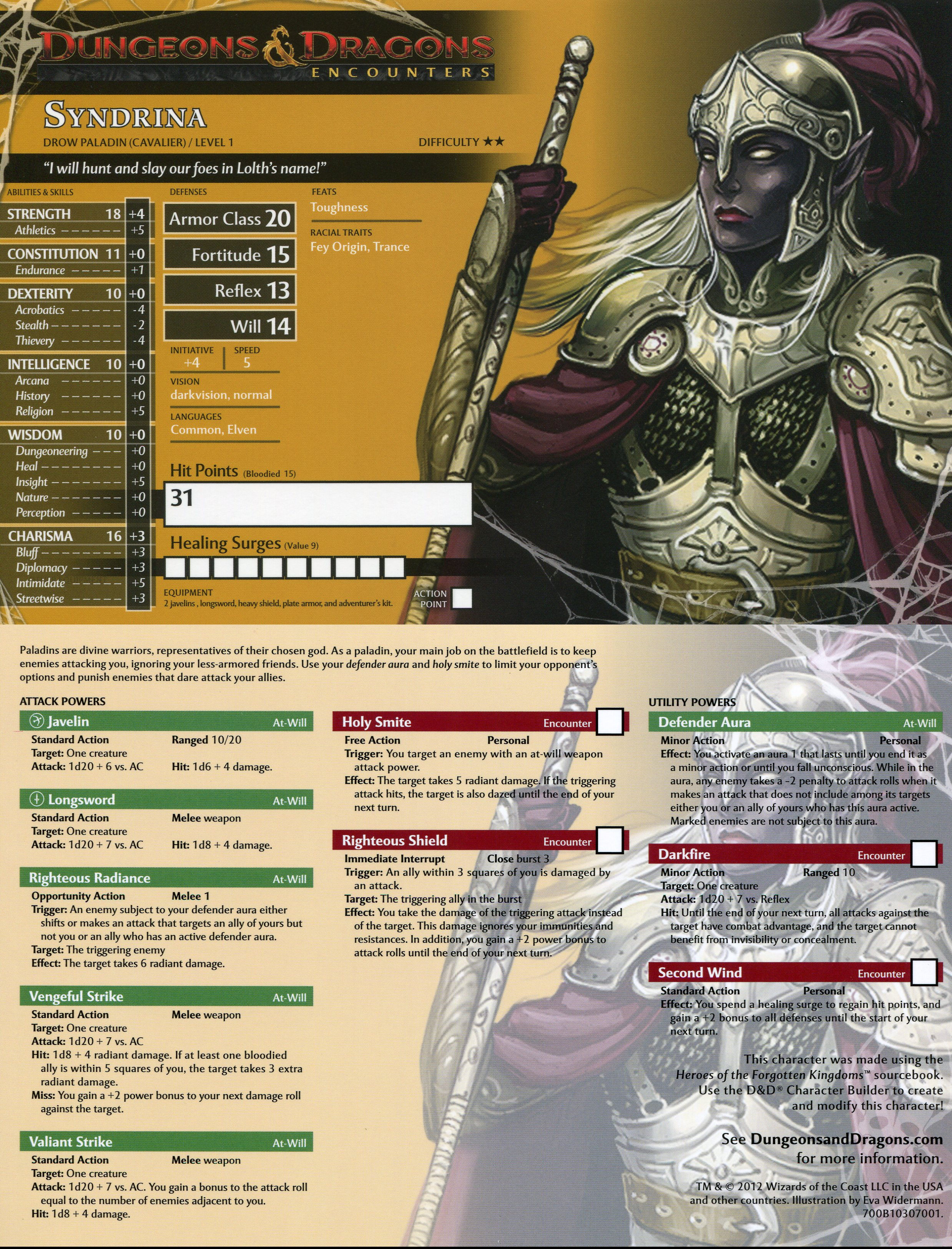 Pathfinder Playtest Premade Characters
